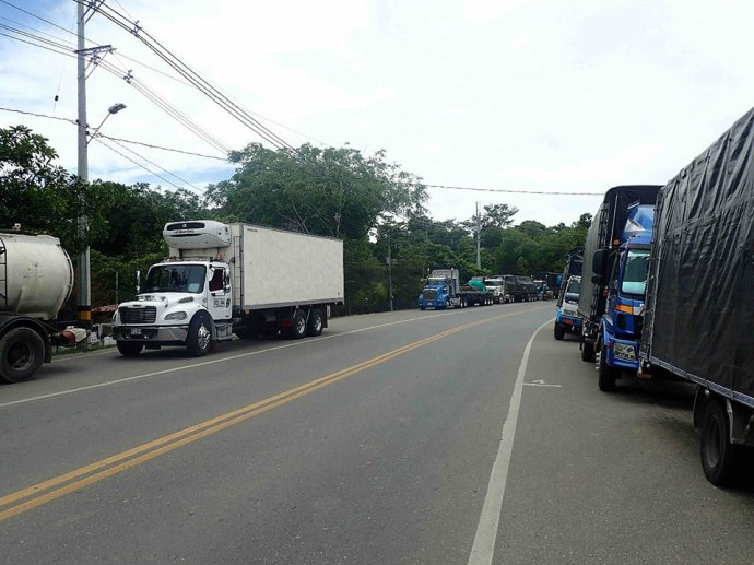 Trucks backed up (Photo credit: Sue's Facebook page)
