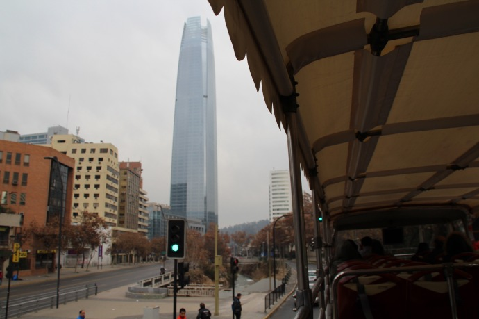 The tallest building in Santiago.  Actually second tallest building in Southern Hemisphere and tallest in South America. Cost $1 billion to build, is 300 meters high