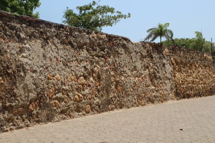 Walled city wall, 20 feet thick, 12 feet high - made from coral