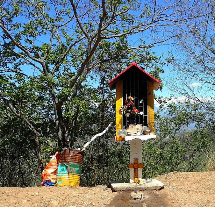 Roadside shrine at about 600m up the hill (Photo and caption credit: Sue's Facebook page)
