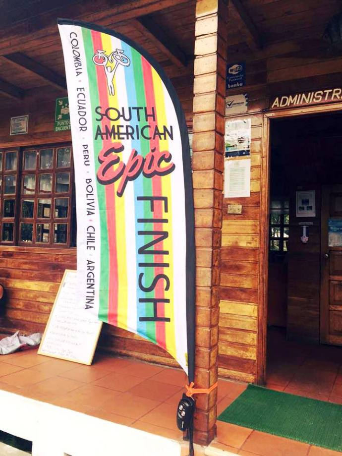 The finish flag at the Hosteria (Photo credit: Hotel's Facebook page)