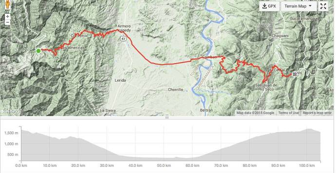 Today's route and profile (Photo and caption credit: Sue's Facebook page)