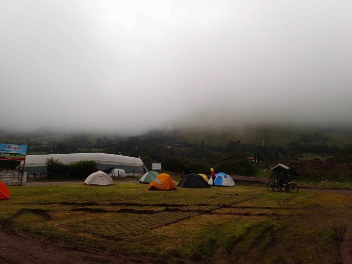 Cold and wet camp tonight (Photo and caption credit: Sue's blog)