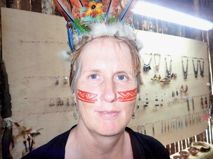 Kaye with face paint and hat (Photo and caption credit: Sue's blog)