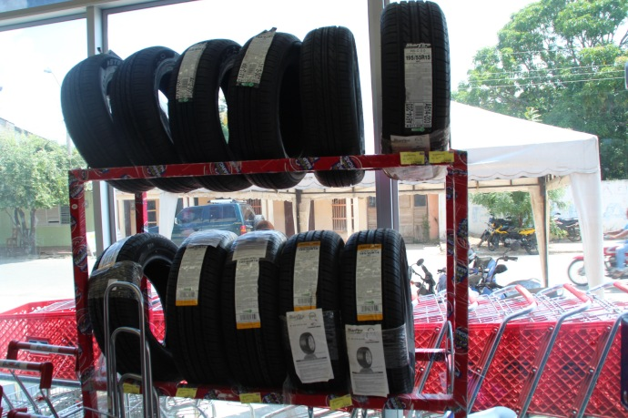 Tyres for sale at local supermarket in San Marcos