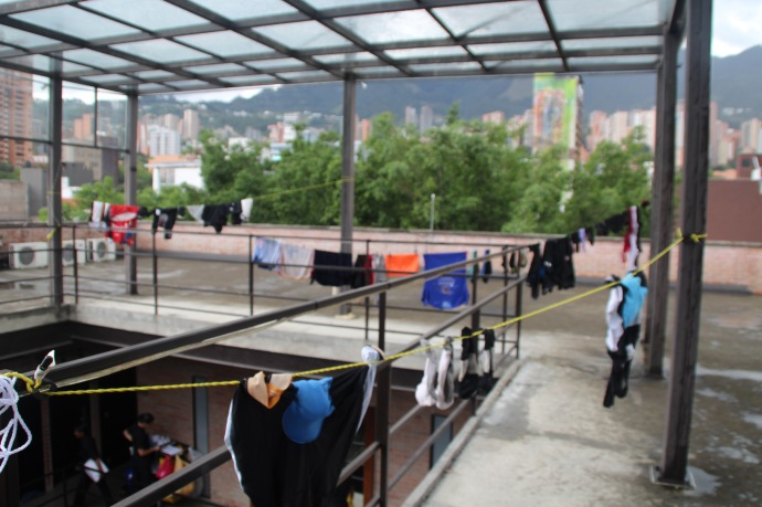 Washing on roof of Art hotel in Medellin