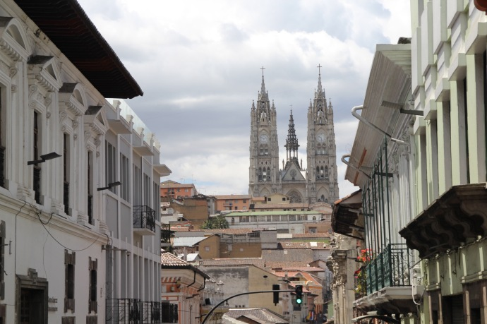 The church in the background is Basilica Del Voto Nacional