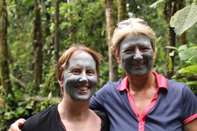 Sue and I with river clay masks