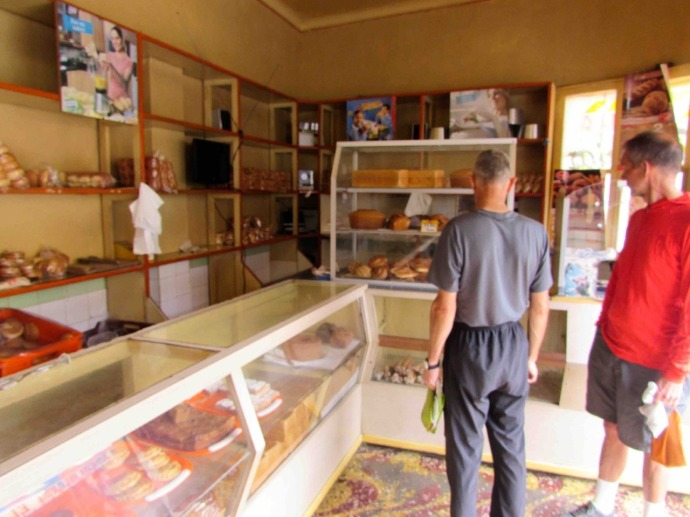 A visit to the bakery with Mark and Nelson (Photo and caption credit: Sue's blog)