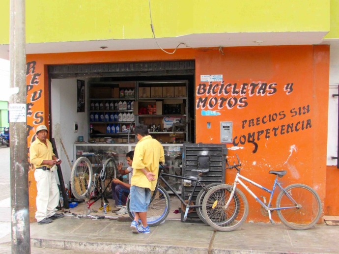 The local bike shop (Photo and caption credit: Sue's blog)