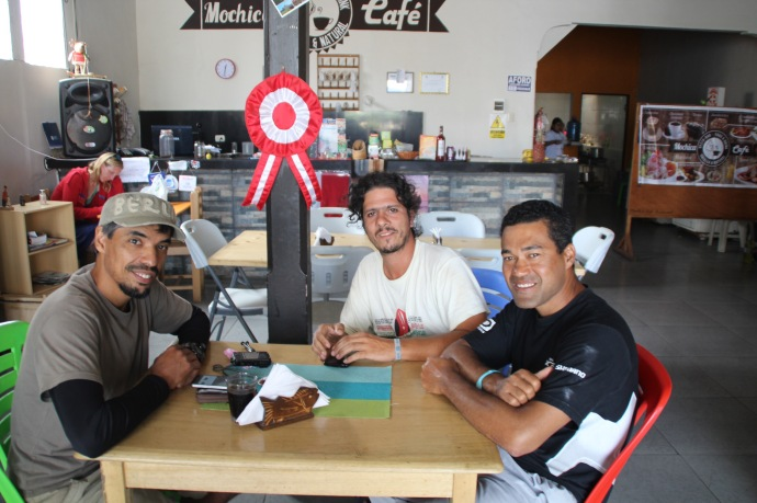 TDA staff enjoying a rare day off. From left: Luiz the lunch truck driver and bike mechanic, Cristiano the tour leader. Antonio a bike mechanic who joined us in Quito.