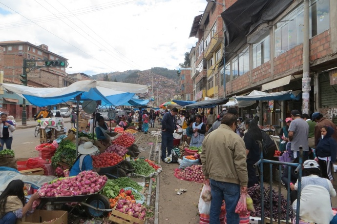 Getting through Cusco to our hotel was a bit of a challenge. Lots of turns combined with steep, rough cobbled streets made it exciting. One of the streets had a vegetable market. It made for lots of dodging bodies and produce (Photo and caption credit: Laura and Greg's blog)
