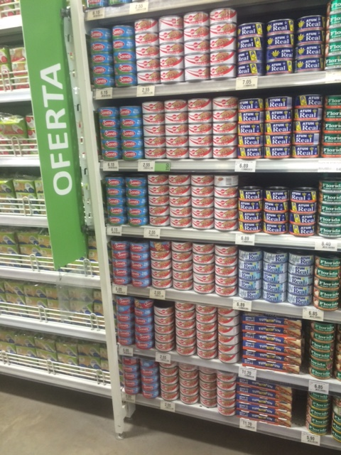 Supermarket stacking: Everything in the whole shop - the packets / cans etc - were stacked with the labels all pointing the same way