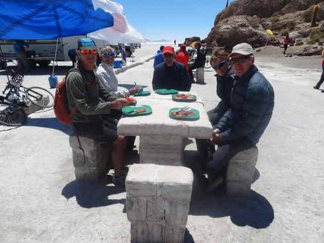Sharing a table at lunch, at the salt tables, just before the winds picked up! (Photo credit: Jo's Facebook page)