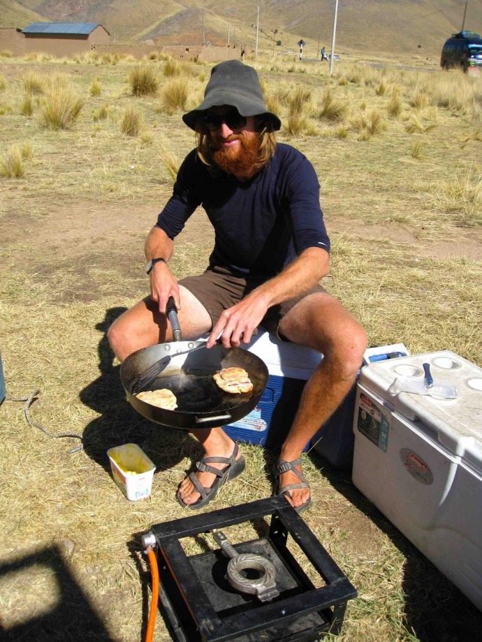 Adrian cooks us fried sandwiches for lunch (Photo and caption credit: Sue's blog)