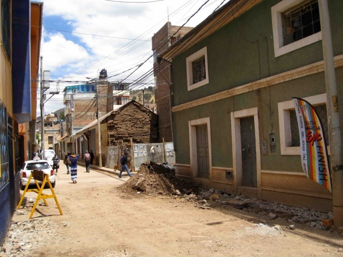 The roads are under construction in Puno (Photo and caption credit: Sue's blog)