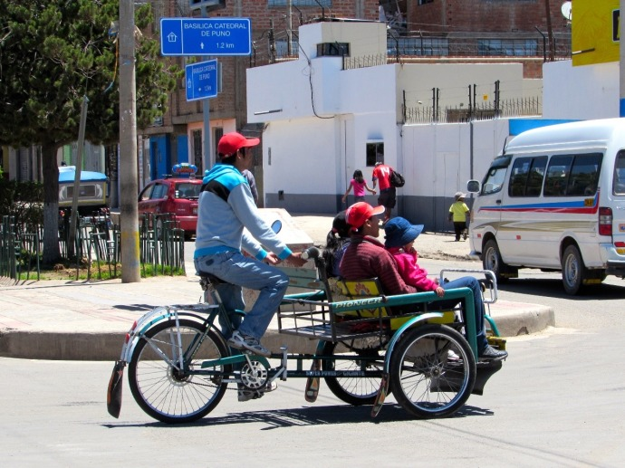 A local taxi in Puno (Photo and caption credit: Sue's blog)