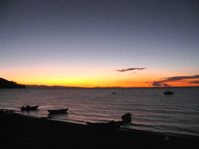 Sunset over lake Titicaca (Photo and caption credit: Sue's blog)