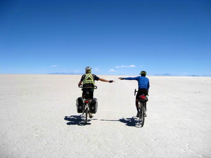 Rolph and Mark on the salt flats (Photo credit: Sue's blog)