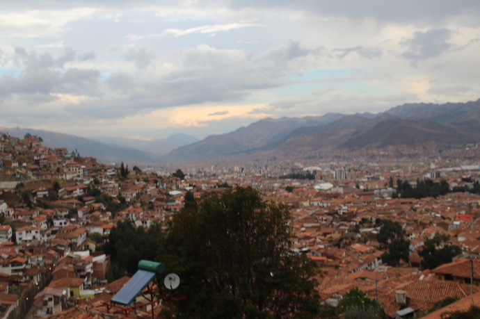 View of Cusco from top of hill