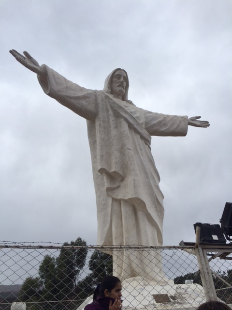 Rest day two in Cusco . The Jesus statue from the Palestine Govt to the people of Cusco for providing sanctuary to the Hews in world war 2