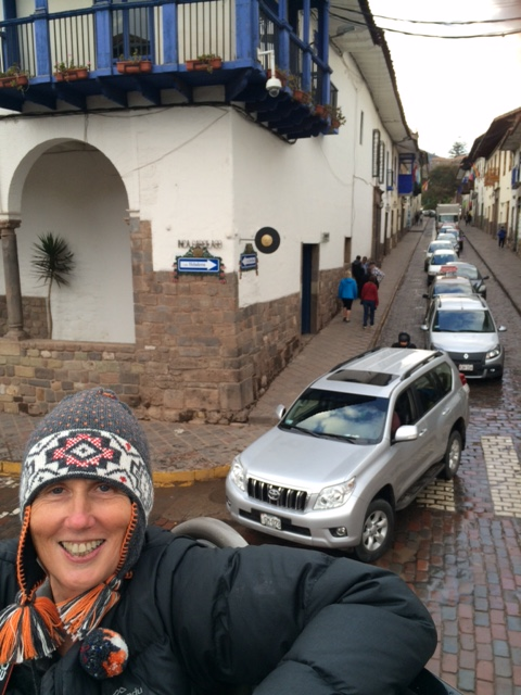 On top of your bus in Cusco rest day two ( with my warm bed hat)