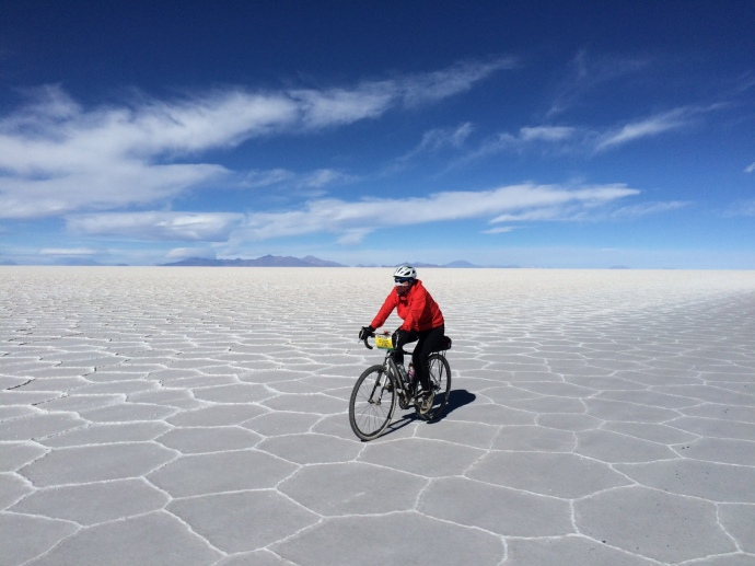 Riding on the salt flats
