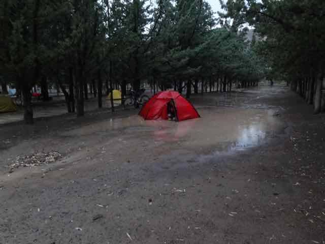 After the storm - Fred's tent (Photo credit: Jo's Facebook page)