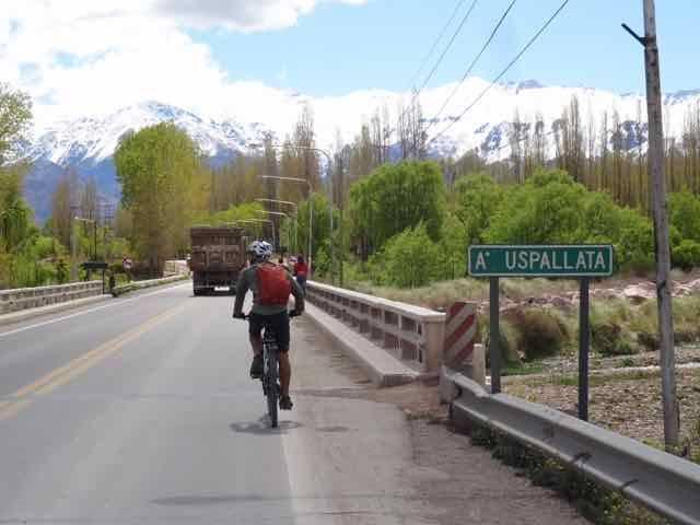Riding toward our hotel in Upsallata