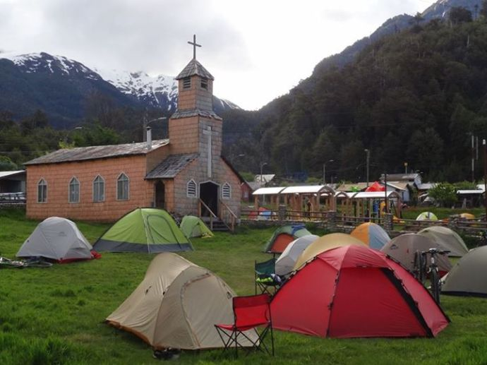 Tents in front of the church