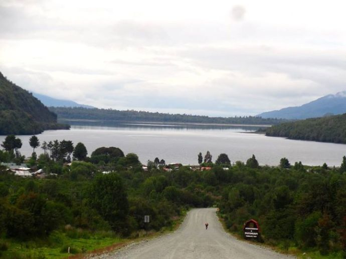 Nick heading into the town of Puyhuapi.(Photo credit: Jo's Facebook page)