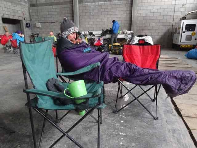 Having a nap in the cold shed (Photo credit: Jo's Facebook page)