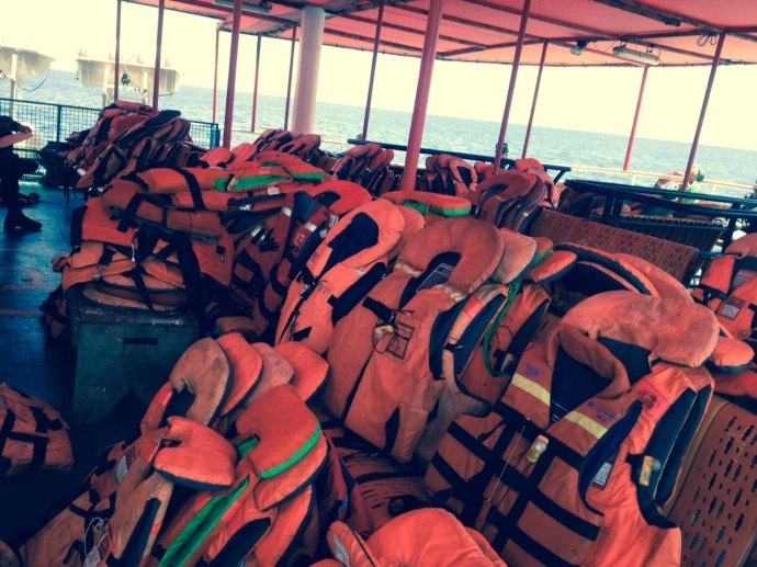 Life jackets on the boat