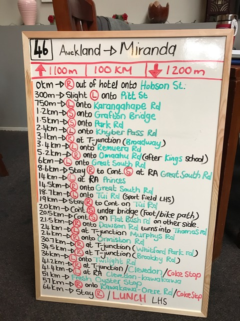 The whiteboard instructions for leaving Auckland