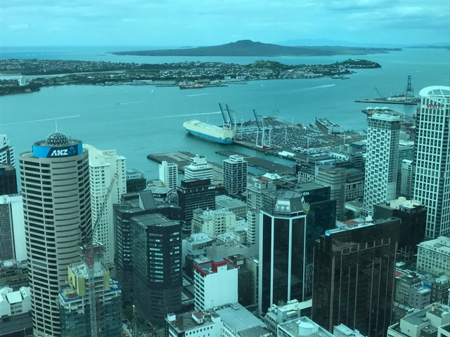 View from Sky Tower - Auckland withRangitoto Island in the background